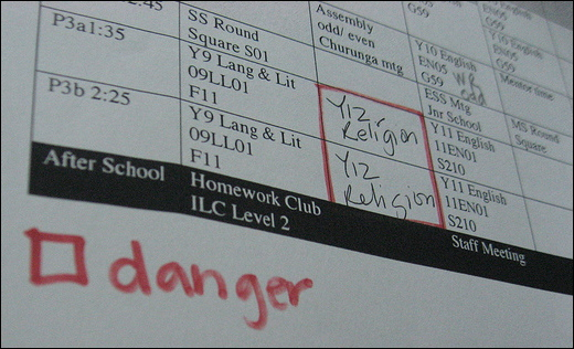 Timetable - danger!