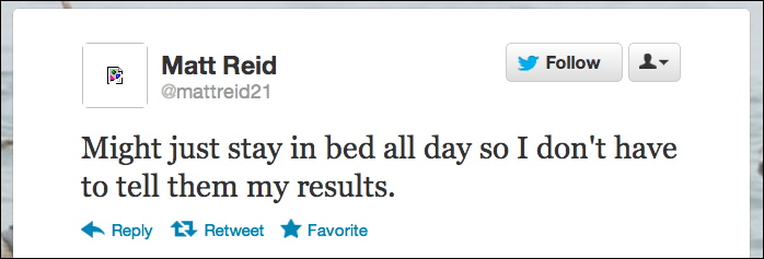 Tweets about my results 5